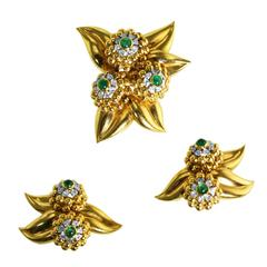 Retro Emerald Diamond Gold Floral Brooch and Earclips