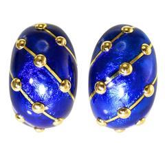 Tiffany & Co. Schlumberger Blue Paillonne Enamel Gold Earclips
