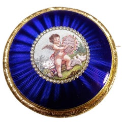 "1795 Antique Enamel Gold Brooch ""Je Bless et Je Gueris"""