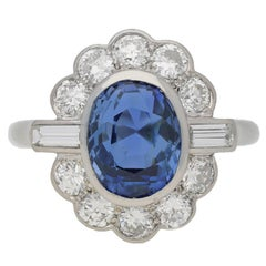 Mauboussin Sapphire Diamond Platinum Cluster Ring