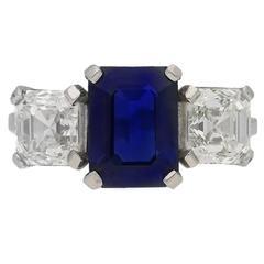 1930s Sapphire and Asscher cut diamond Platinum three stone ring