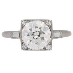 1930s Art Deco 2.08 carat diamond platinum ring
