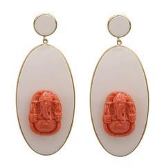 Beautiful Italian Bakelite Gold Earrings with Coral Ganesh