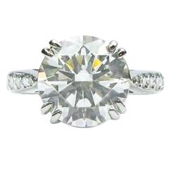 3.57 Carat Round Brilliant Diamond Platinum Engagement Ring