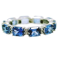 Sapphire Diamond Gold Eternity Band Ring