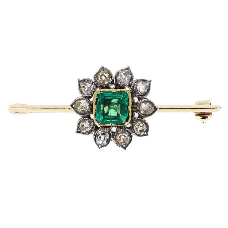 Antique Emerald Old Cut Diamond Cluster Brooch