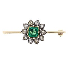 Antique Emerald Old Cut Diamond Cluster Brooch