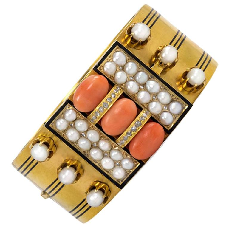 Victorian Brogden Coral Pearl Diamond Gold Bracelet with Locket Compartment