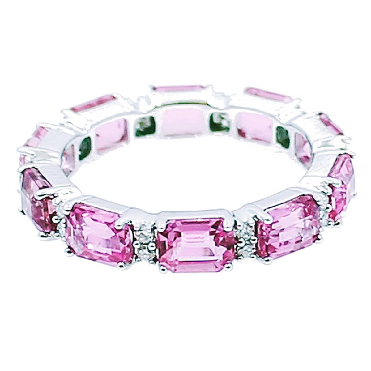 emerald cut pink sapphire gold eternity band ring