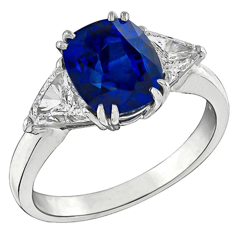 Natural 4 Carat Sapphire Diamond Platinum Engagement Ring