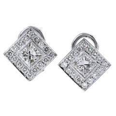 1.28 Princess Cut Diamonds with .55 Pave Halo 18 Karat Gold Earrings Lever Back