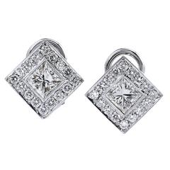 Princess Cut Diamond Gold Earrings