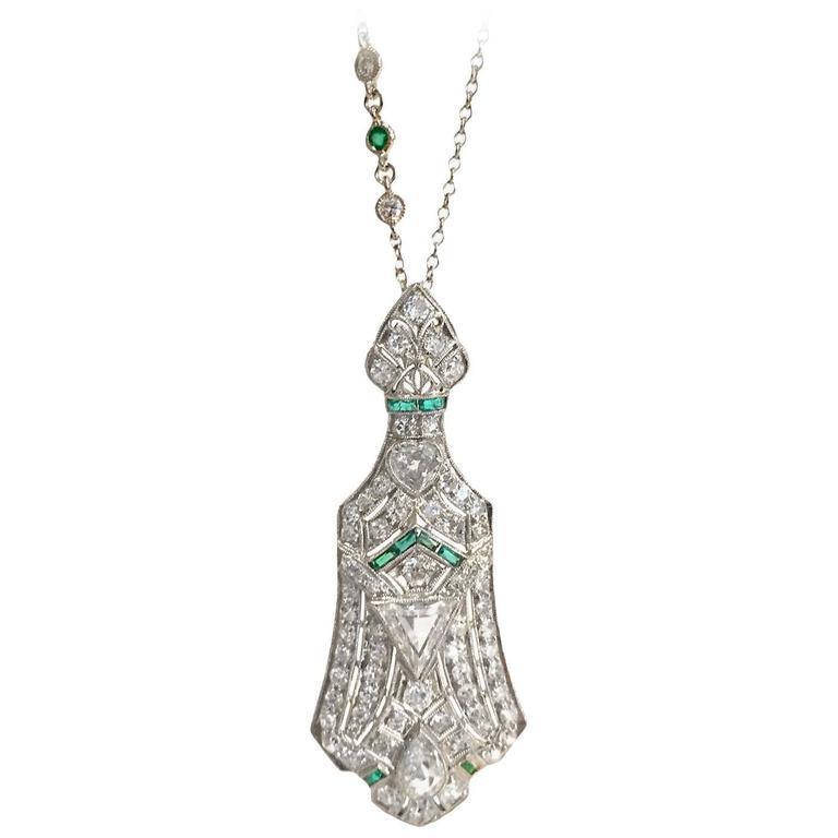 Art Deco 3.5 Carat Emerald Diamond Platinum Pendant Pin 1