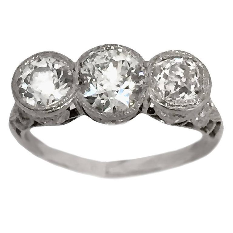 Edwardian Diamond Platinum Original 3 Stone Ring 1