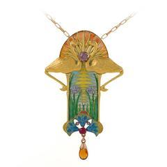 Feuillâtre French Art Nouveau Diamond Ruby Citrine Enamel Gold Pendant