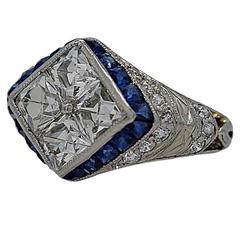 Art Deco Sapphire Diamond Platinum Engagement Fashion Ring