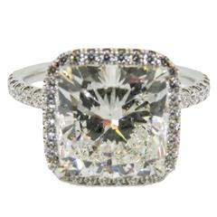 Stunning GIA Cert Cushion Cut Diamond Platinum Engagement Ring