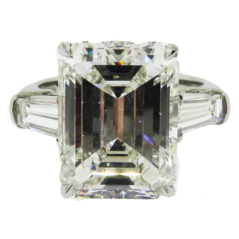 emerald cut platinum engagement ring at 1stdibs