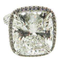 Extraordinary 11.04 Carat GIA Cert Cushion Diamond Platinum Engagement Ring