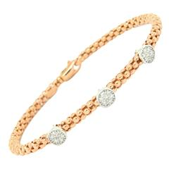 Diamond Gold Mesh 3 Circle Bangle