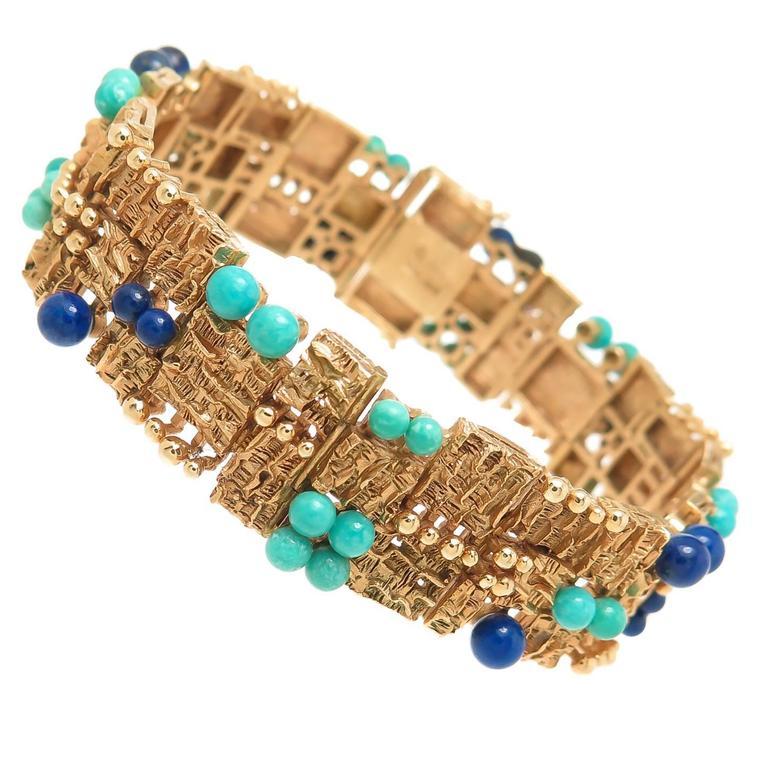 Mid Century Gem Set Gold Link Bracelet For Sale