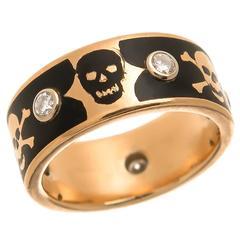 Enamel Diamond Gold Skulls Band Ring