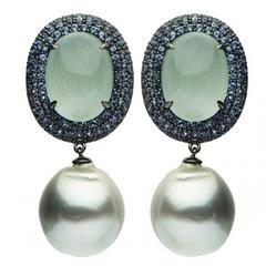 18k Black Gold Tahitian Aquamarine Sapphire Earrings