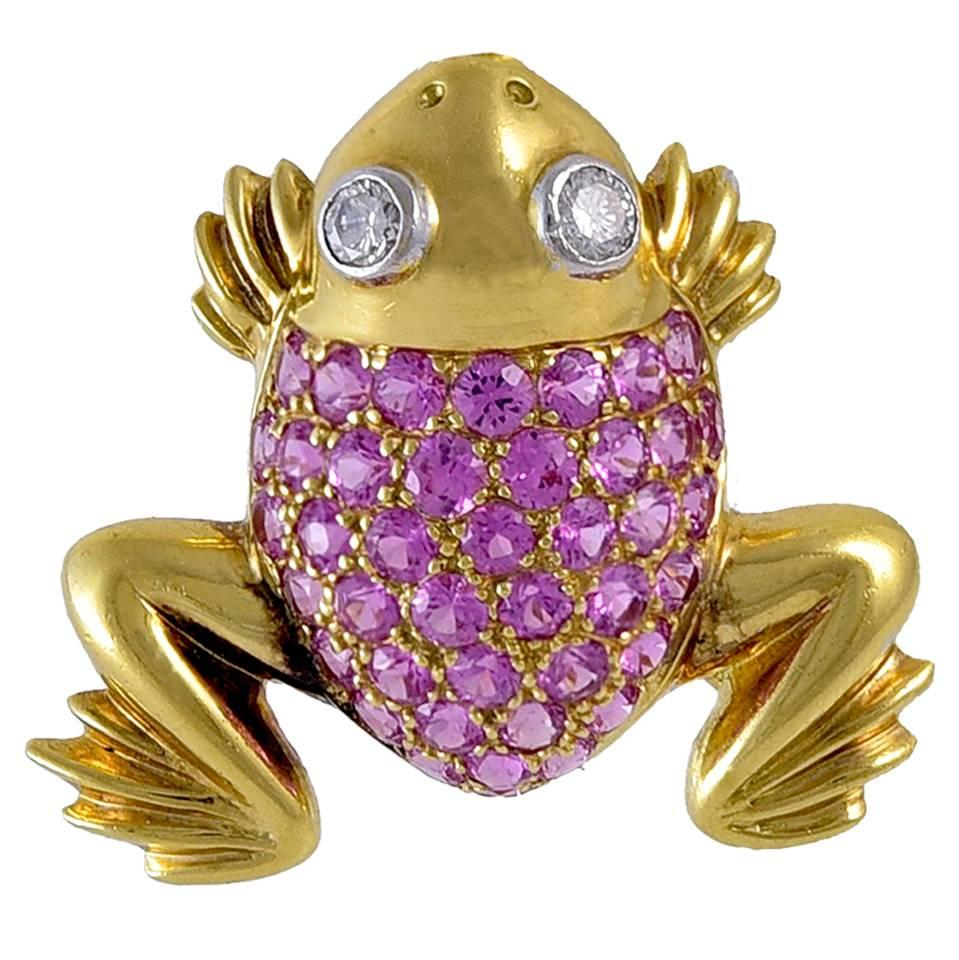 Frog Pin in Gold with Diamonds and Sapphires