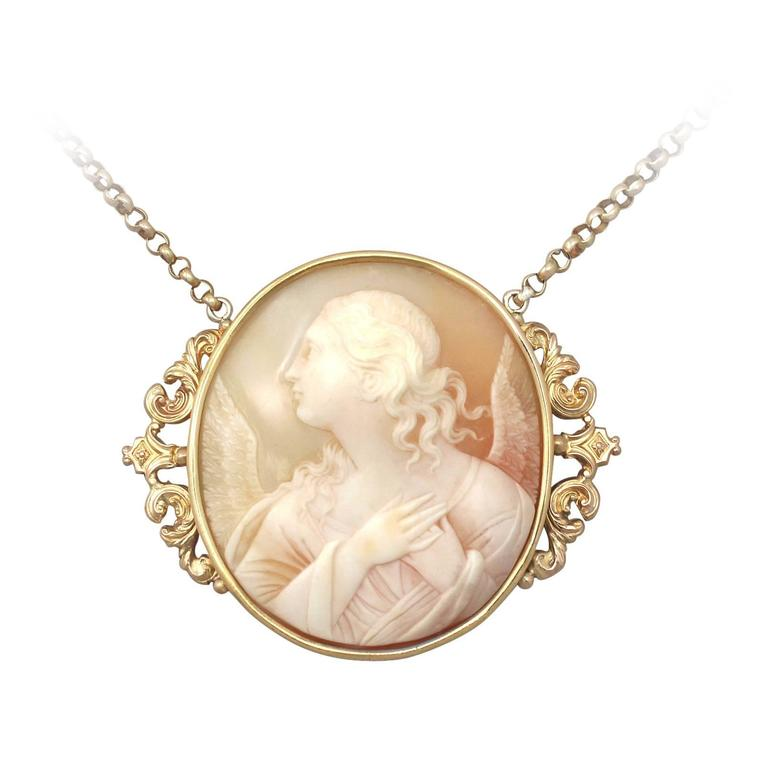 Carved shell and 21k yellow gold cameo pendant antique circa 1880 carved shell and 21k yellow gold cameo pendant antique circa 1880 for sale aloadofball Images