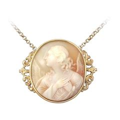 Carved Shell and 21k Yellow Gold Cameo Pendant - Antique Circa 1880