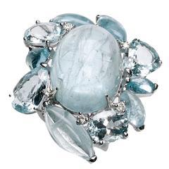 Aquamarine Diamond Gold Cluster Ring