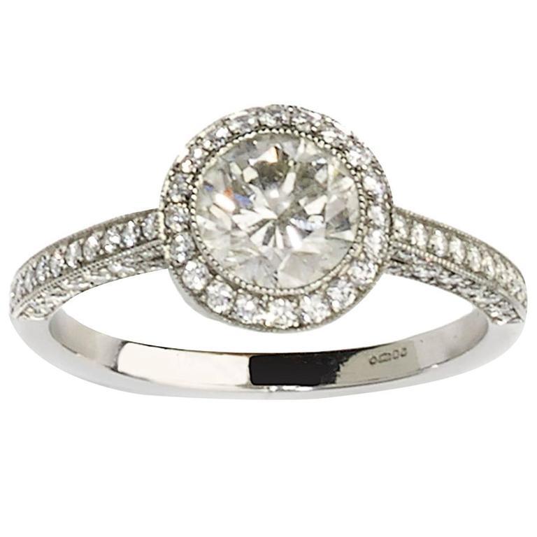 1.01 Carat Diamond Platinum Cluster Ring