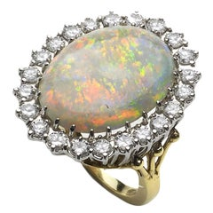 Opal and Diamond White Gold Cluster Ring