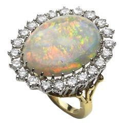 Opal Diamond White Gold Cluster Ring