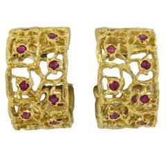 Buccellati Ruby Gold Hoop Earrings