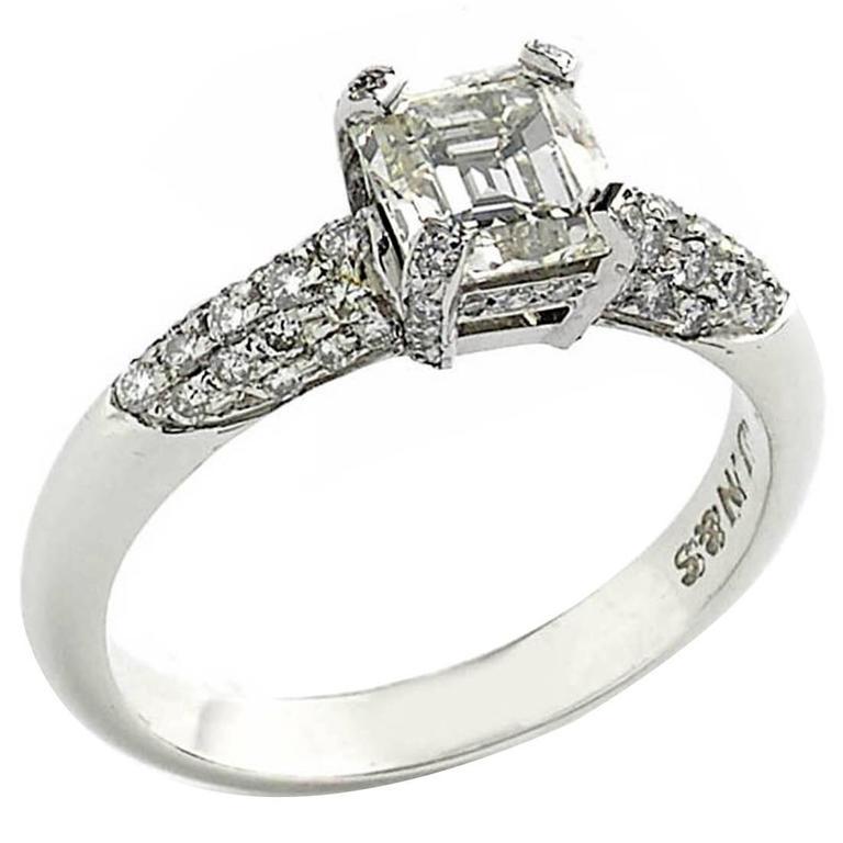 1.23 Carat Emerald-Cut Diamond Platinum Ring