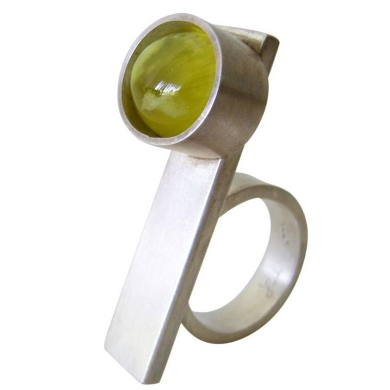 Heidi Abrahamson Australian Prehnite Sterling Silver Two Finger Ring For Sale