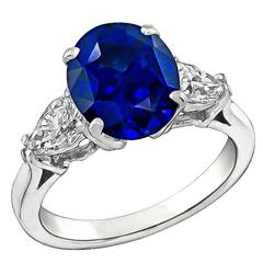 Enticing 3.99 Carat Sapphire Diamond Platinum Engagement Ring