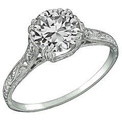 1.49 Carat GIA Cert Diamond Platinum Engagement Ring