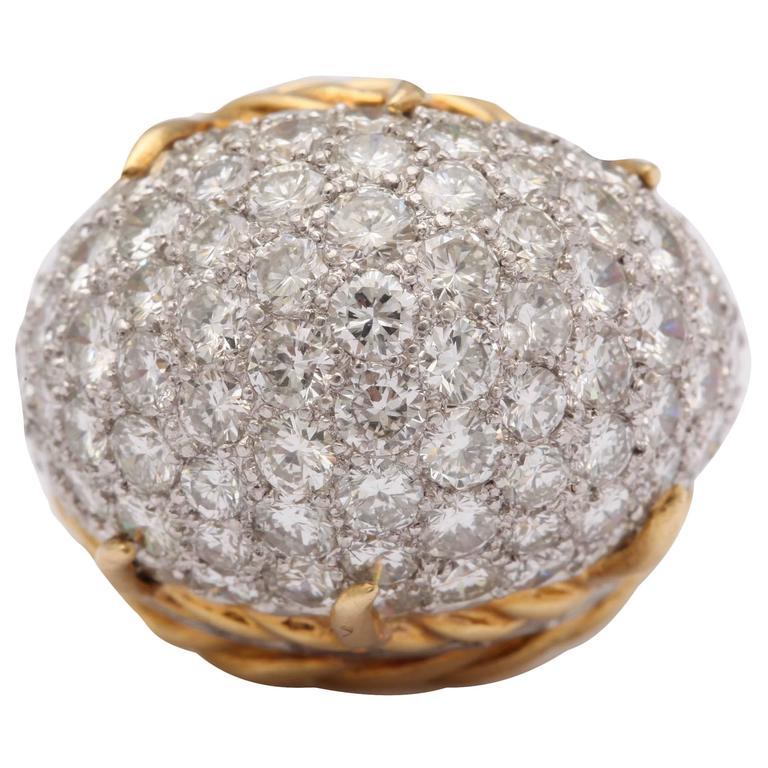 Mid Century Diamond Gold Dome Ring
