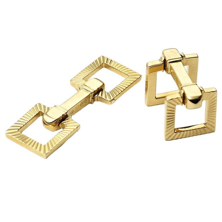 Cartier Gold Square Stirrup Cufflinks