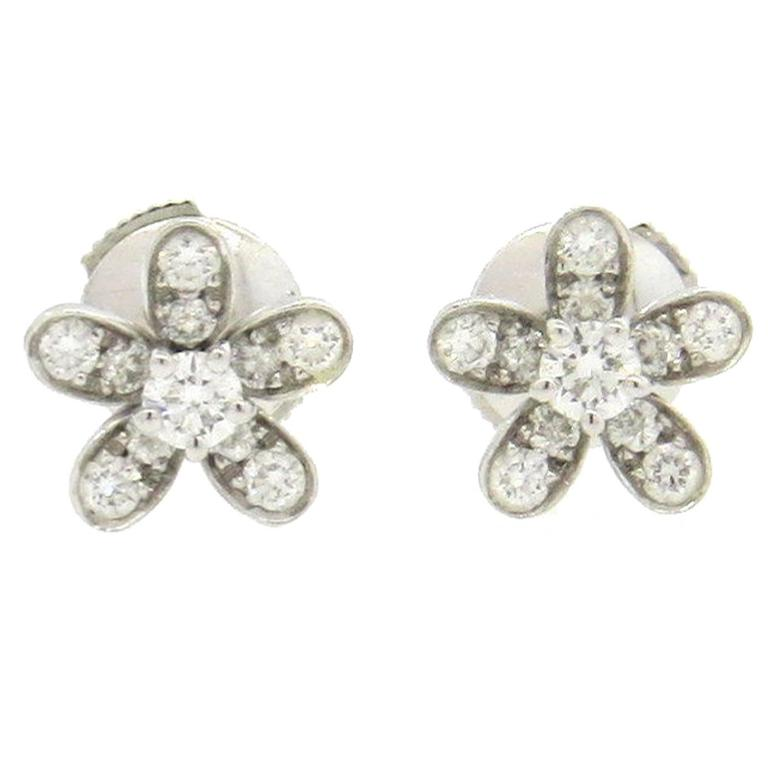Van Cleef Arpels Socrate Diamond Gold Flower Stud Earrings For