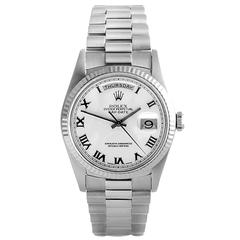 Rolex White Gold Oyster Perpetual Day-Date President Wristwatch