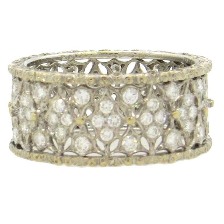 Buccellati Gorgeous Diamond Gold Wedding Band Ring