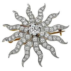 Stunning Diamond Gold Platinum Sunburst  Pendant Brooch