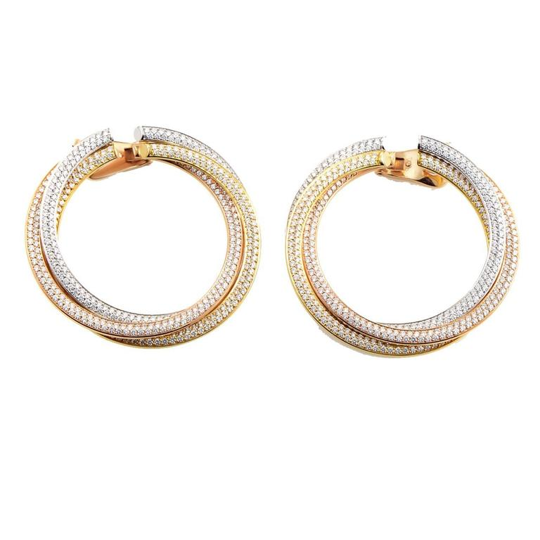 Cartier Trinity Tri-Gold Diamond Hoop Earrings