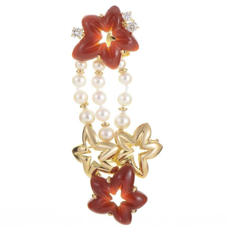Chaumet Gemstone Gold Floral Pin