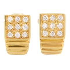 Dior Yellow Gold Diamond Huggie Earrings