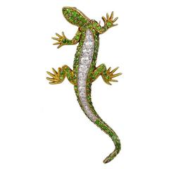 Demantoid Garnet Diamond Gold Lizard Brooch