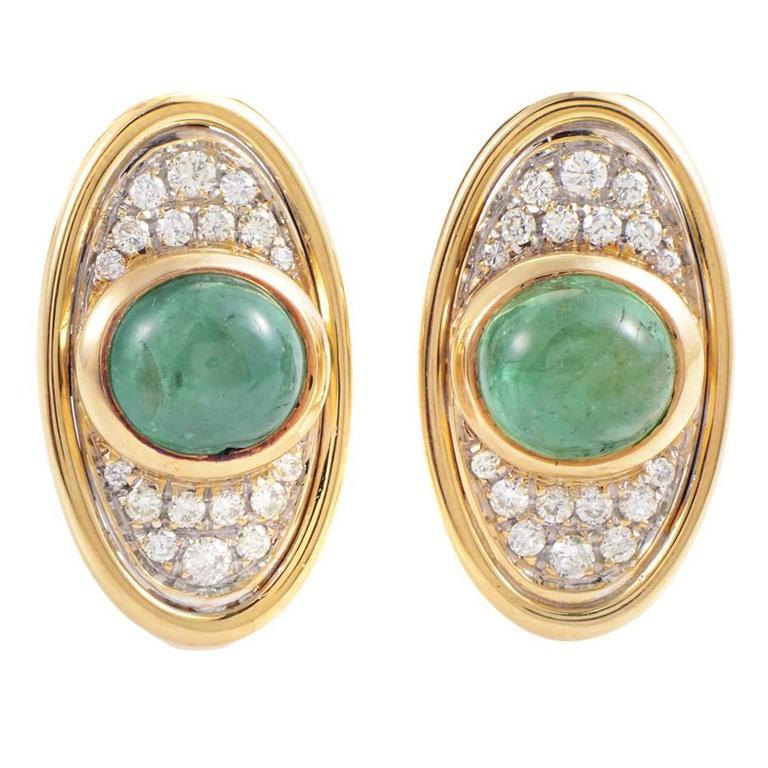 Faraone Multicolor Emerald Diamond Gold Clip-On Earrings